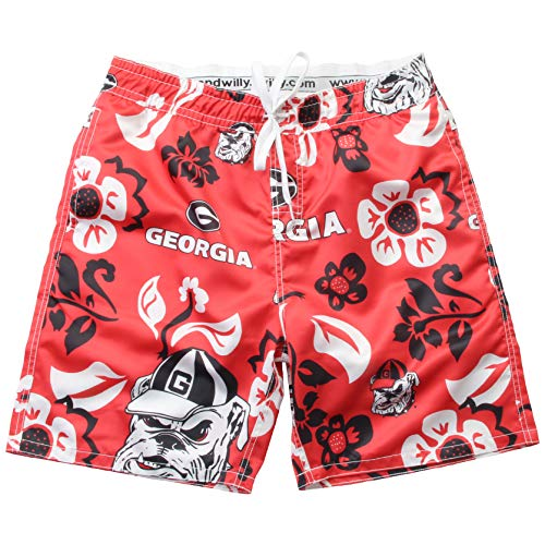 Wes and Willy NCAA Mens Floral Swim Shorts (X-Large, Georgia Bulldogs)