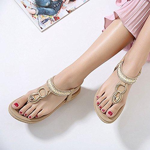 Bohemia Comfort Dress Sandals Women Strap Flat Btrada Apricot Sandals T Cz 1P7twq6