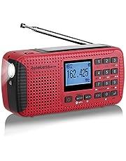 Retekess HR11W Radio Camping Solar Emergencia Manivela Dinamo Am FM Radio Portatil Pequena con Reloj Despertador Reproductor de MP3 Inalámbrico Linterna Grabador Digital y Luz Roja SOS(Roja)