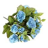 Compia 15 PCS Simulation Latex Cloth Real Touch 25cm Flowers For wedding And Home Design Bouquet Decor