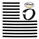 #2: 12 Pack Reusable Hook and Loop Fastening Cable Tie Wraps,Cinch Cable Tie Down Straps Set with Metal Buckle by Vigaer,Assorted Size-12