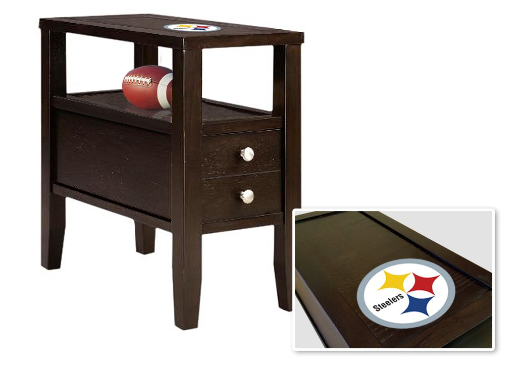 Cappuccino / Espresso Finish Wooden End Table Night Stand with Drawer Featuring the Choice of Your Favorite Football Team Logo (Steelers)