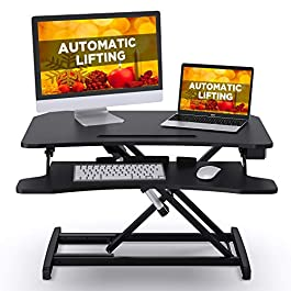 ABOX Electric Powered Lifting Standing Desk Converter, 34″ Height Adjustable Sit Stand Desk Riser, Dual Monitors Removable Keyboard Tray, Black