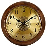Cheap Hense Retro Vintage European Style Living Room Large Decorative Round Wall Clocks Concise 14 inch Mute Silent Quartz Movement Sweep Second Hand Solid Wood Wall Clock HW18