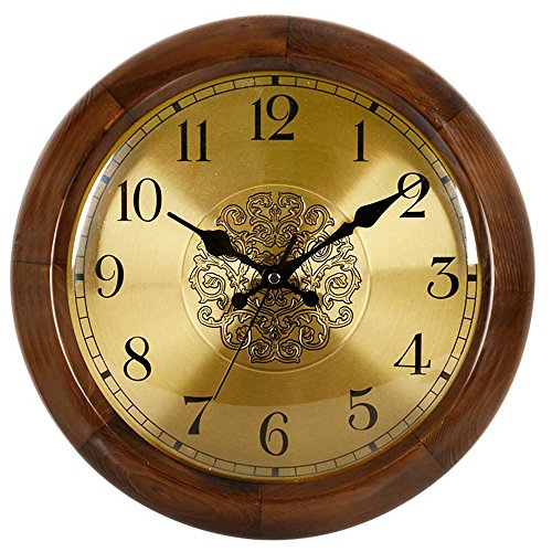 Mute Quartz Wall Clock (HENSE Retro Vintage European Style Living Room Large Decorative Round Wall Clocks Concise 14 inch Mute Silent Quartz Movement Sweep Second Hand Solid Wood Wall Clock HW18)