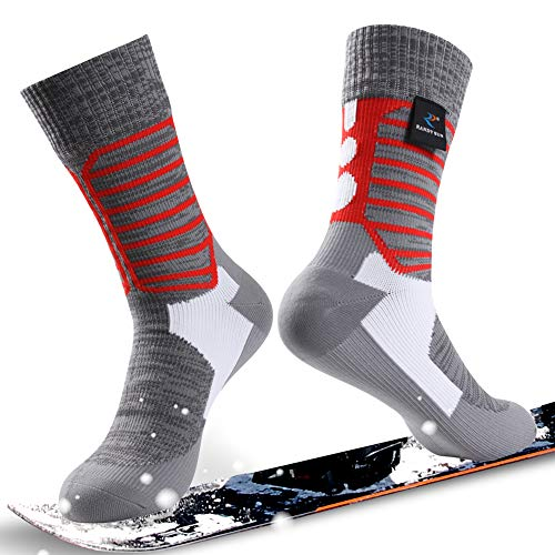 Waterproof Ultimate Socks, RANDY SUN Unisex Sport Socks & Breathable Hiking/Trekking/Skiing Socks, 1 Pair-Grey&Red-Mid calf socks,Medium