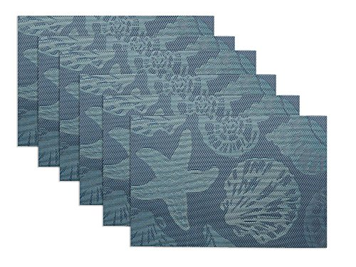 Theme Placemats (Sea Place Mats Beach Theme,Doupoo Heat Resistant Placemats for Dining Table Mats Set of 6 - Nautical Blue Reversible Placemats Starfish Seashell Conch)