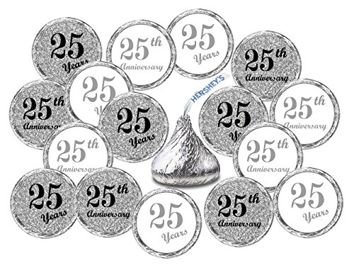 25th Anniversary Kisses Stickers, (Set of 216) Chocolate Drops Labels Stickers For 25th Wedding Anniversary, Hershey's Kisses Party Favors Decor ()