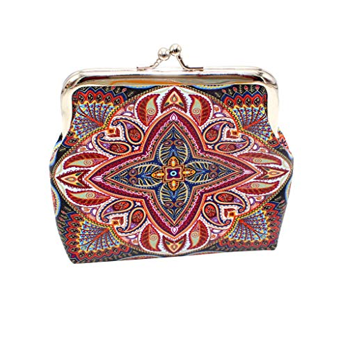 Halfbye Cute Floral Buckle Coin Purses Vintage Pouch Kiss-Lock Change Purse Wallets
