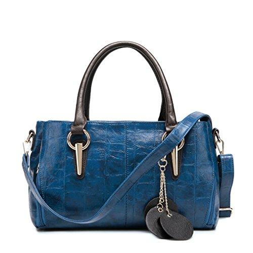 TianHengYi Women's Faux Leather Crocodile Print Shoulder Bag Top-handle Tote Fashion Zipper Handbag Navy Blue