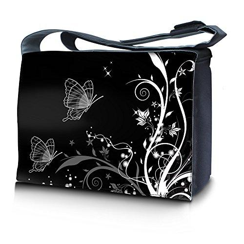 Luxburg® Design bolso bandolera de mensajero, de escuela bolso para portátil ordenadores Laptop Notebook 17,3 pulgadas, motivo: Erizo multicolor Plantas y mariposas sobre fondo b/n