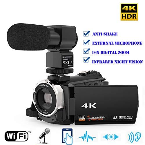 WXJHA Camcorder Video Camera 4K 1080P 48MP WiFi Digital Video Camera Camcorder Recorder with External Microphone IR Infrared Night Sight 16X Zoom