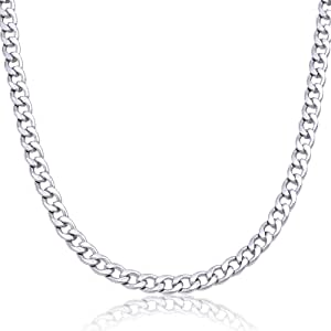 """18-36"""" Inch Mens Stainless Steel Solid Silver 6mm Cuban Curb Necklace Chain Link Jewelry"""