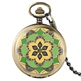 Hot Sale Pocket Watch, Unique Jade Craystal Case Hand Winding Mechanical Pocket Watch, Unique Gift for Men Women