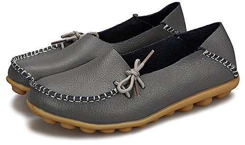 Fangsto Mujeres Cuero Slipper Mocasines Zapatos Planos Slip-ons Sty-1 Gris Oscuro