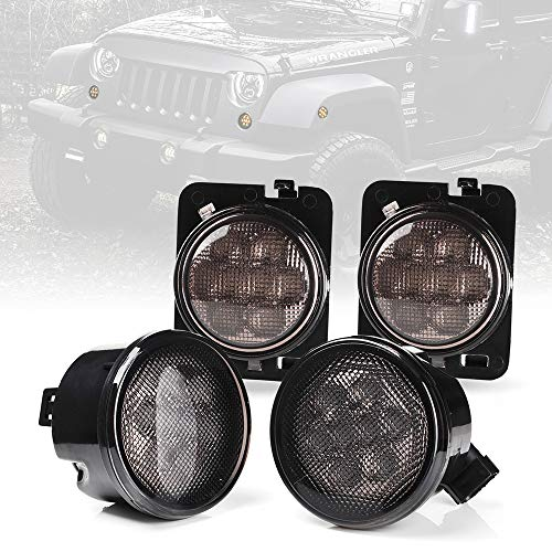 Xprite Smoke Lens Yellow LED Front Replacement Turn Signal Light & Fender Side Marker Light Assembly for 2014-2018 Jeep Wrangler JK JKU