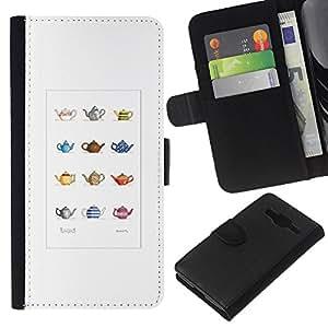 KLONGSHOP // Tirón de la caja Cartera de cuero con ranuras para tarjetas - Tetera minimalista Modelo artístico - Samsung Galaxy Core Prime //