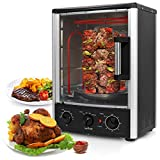 Upgraded Nutrichef Countertop Turkey Thanksgiving  Rotisserie Oven Multi-Function Vertical Countertop with Bake, Broil Roasting Kebab Rack with  Adjustable Settings, 2 Shelves 1500 Watt. (PKRT97)
