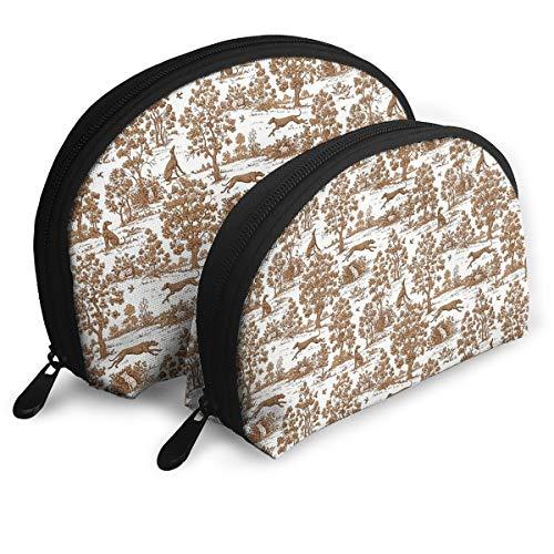 Cosmetic Bag Brown Greyhound Toile Travel Makeup Pencil Pen Case Multifunction Storage Portable - 2 Piece Set ()