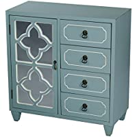 Heather Ann Creations 4 Drawer Wooden Accent Chest and Cabinet, Clover Pattern Grille with Mirrored Backing, 30.75H x 29.5W, Turquoise