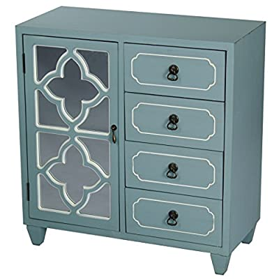 """Heather Ann Creations 4 Drawer Wooden Accent Chest and Cabinet, Clover Pattern Grille with Mirrored Backing, 30.75""""H x 29.5""""W, Turquoise - A Beautiful and Functional Decorative 4 Drawer Accent Chest and Cabinet That Measures 30.75""""H x 29.5""""W x 14"""" Expertly Built and Painstakingly Finished to Perfection Features 4 Built in Drawers with Antique Bronze Ring Pulls, Beautiful Carved Grille and Cabinet with Single Shelf Built In Drawer Interior Measures 3.5""""H x 10.5""""W x 12""""D, Storage Cabinet Shelf Measures 12""""H x 13""""W x 11.5""""D for Ample Storage Space - dressers-bedroom-furniture, bedroom-furniture, bedroom - 516okpQ5QIL. SS400  -"""