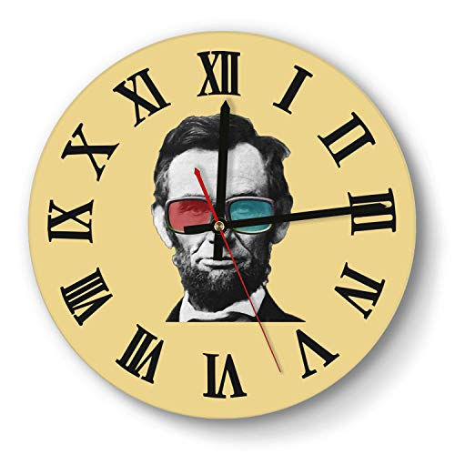 saedes Abraham Lincoln Posters Glasses Wall Clock Decorative Wall Clock Round Easy to Read Home/Office/School Clock, Wall Clocks Silent Battery Operated