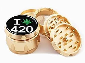 """I Weed 420 Design Premium Grade Aluminum Tobacco,Herb Grinder -4Pcs Large (2.5"""" Gold) # GLD-G022115-046"""