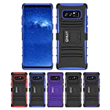 Galaxy Note 8 Stand Case, HLCT Rugged Shock Proof Dual-Layer Case with Built-In Kickstand (2017) (Blue)