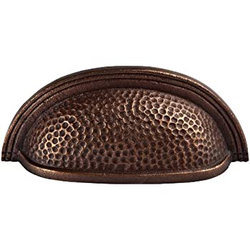 The Copper Factory CF117AN Solid Cast Copper Oval Bin Pull On 3.5-Inch Centers, Antique Copper
