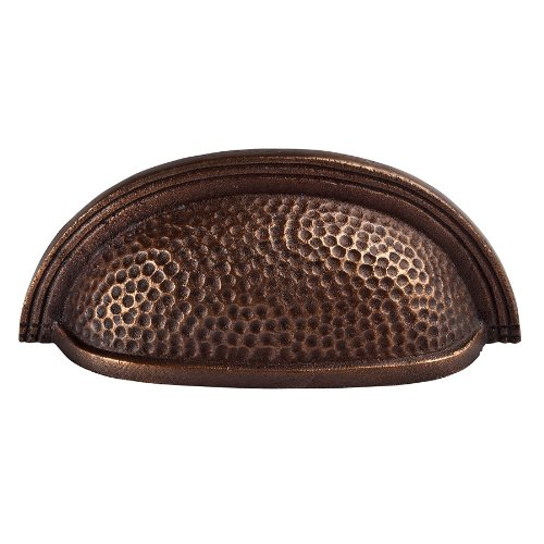 The Copper Factory CF117AN Solid Cast Copper Oval Bin Pull On 3.5-Inch Centers, Antique Copper by The Copper Factory