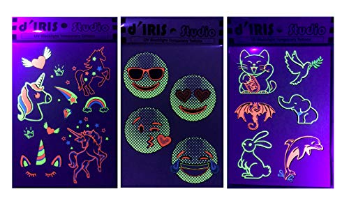 UV Glow Party Decoration Tattoos- Unicorns/Emojis/Peace and Happiness-Accessories Flash Neon Toy Game Glowsticks Favor Dark Nightclub Electric Dance Music Festival Concert EDM Underground Tattoo]()