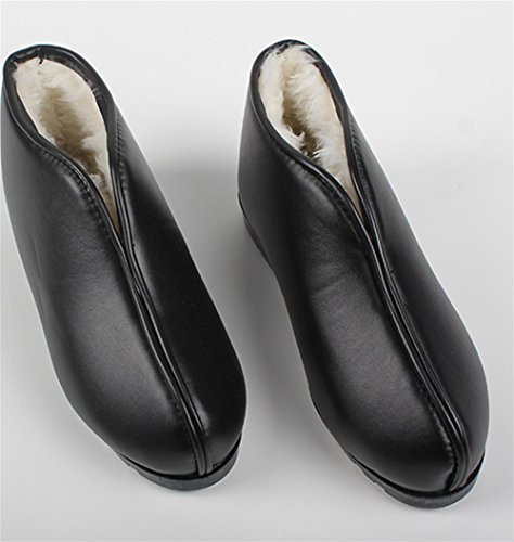 W&XY Winter Men's warmth slippers home indoor package with shoes cotton slippers leather shoes men and women tendon at the end non-slip 44