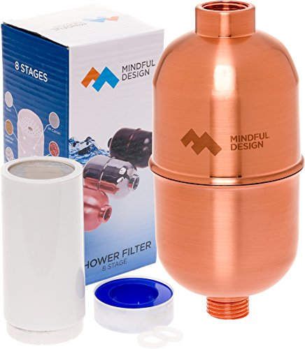 8 Stage Universal Shower Filter with Retro Casing - High Output Handheld or Shower Head Filter with Replaceable Cartridge by Mindful Design (Copper) Retro Showerhead Shower Accessory
