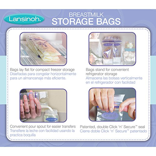 Large Product Image of Lansinoh Breastmilk Storage Bags, 100 Count convenient milk storage bags for breastfeeding