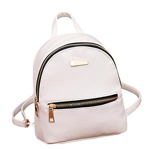 Casual Leather Backpack Purse Satchel Shoulder School Bags for Women Girls (White)