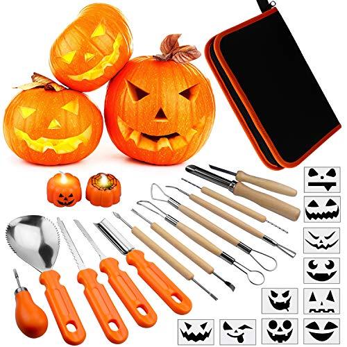 Pumpkin Ideas For Halloween No Carving (Pumpkin Carving Kit for Kids, 13 Pieces Halloween Pumpkin Carving Tools Set, 2 LED Pumpkin Candles & 10 Carving Stencils with Carrying Case Halloween)