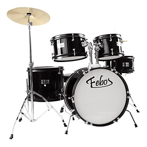febos-fjds-502bk-drum-set-for-kids-junior-kit-5-piece-with-cymbals-hardware-sticks-throne