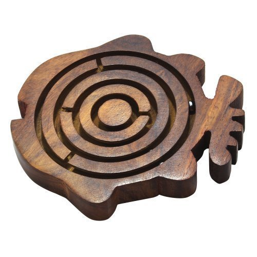 Wooden Art Brain Teasers Puzzles Labyrinth Game Fish Shap With 3 Steel Balls 11 cm X 11 cm