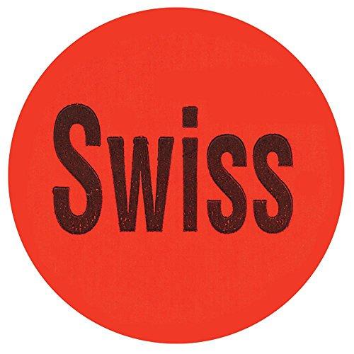 Swiss Labels Red Deli Dot Packaging Labels Black Imprint - 1