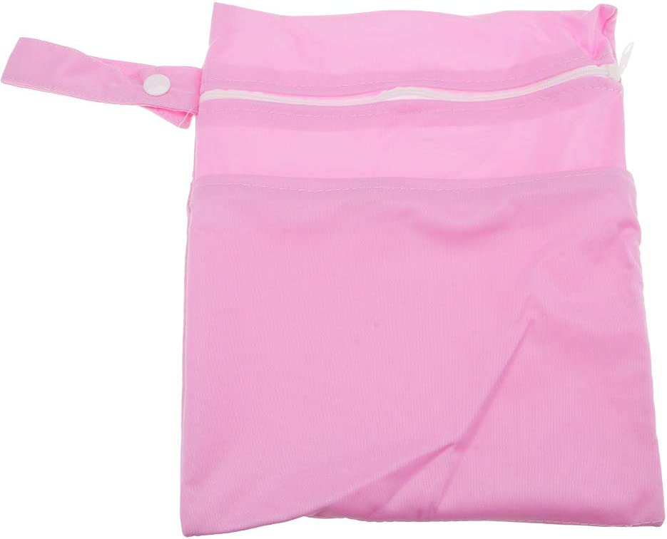 HuntGold 1PCS Waterproof Travel Odorless Zipper Nappy Diaper Storage Bag Wet Dry Cloth Washable Pouch Double Layers-Pink
