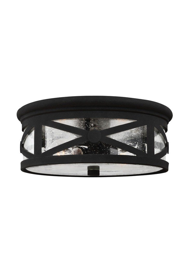 Sea Gull Lighting 7821402-12 Lakeview Two-Light Outdoor Flush Mount Ceiling Light with Clear Seeded Glass Shade, Black Finish by Seagull