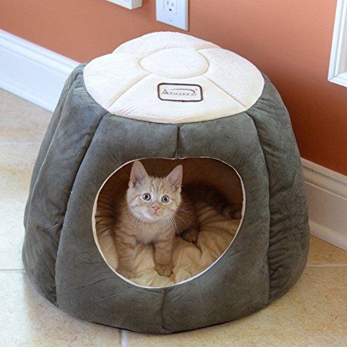 516omawLHLL - Armarkat Cat Bed - Laurel Green & Beige