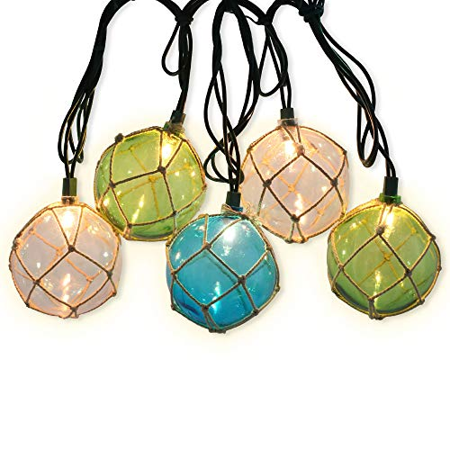LIDORE Set of 10 Nautical Fishing Floats Coastal Buoy Beach Style String Lights Set. Warm White Light.