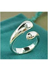 925 S Plated Fully Adjustable Water Drop Ring Women Jewelry