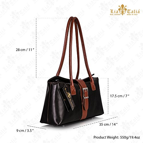 Leather Genuine MEGAN Italian Trim Shoulder Satchel LIATALIA Black Handle Handbag Buckle Top Brown EOqx1wd