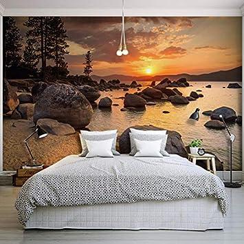 WH-PORP 3D Tapete Natur Landschaft Sonnenuntergang Nightfall River ...