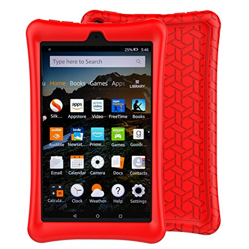 BMOUO Case for Fire 8 Tablet (7th and 8th Generation, 2017 and 2018 Release) - Light Weight Shock Proof Soft Silicone Back Cover for Fire 8, Red (Fire Hd6 Warranty)