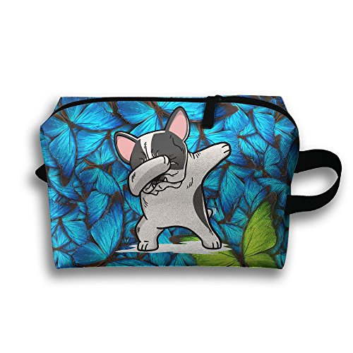 Pied French Bulldog (Lqzdqa Unisex Tourist Bag Funny Pied French Bulldog Dog Toiletry Bag Sundry Bag)