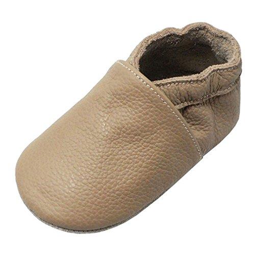 Yang Baby Boys Girls Shoes Crawling Slipper Toddler Infant Soft Leather First Walking Moccs(Dark Beige,6-12 Months)