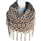 Novawo Fashion Womens Winter Warm Knit Infinity Scarf with Tassels, Two Styles Infinity & Straight (Khaki)